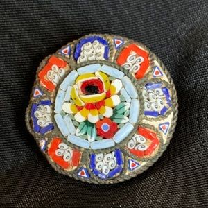 Vintage Italian Micro Mosaic Round Brooch Pin